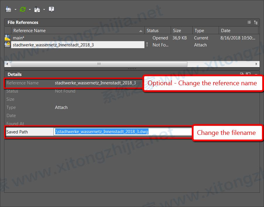 AutoCAD中怎么更改外部参照(XREF)的文件或文件名?